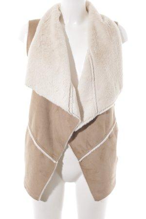 Bershka Vest van imitatiebont lichtbruin-wolwit country stijl