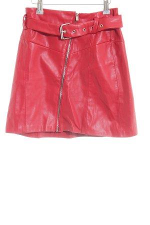 Bershka Faux Leather Skirt red elegant