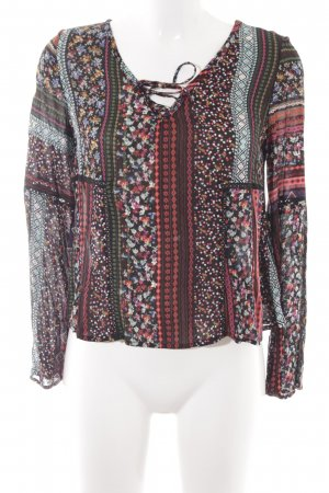 Bershka Langarm-Bluse abstraktes Muster Casual-Look