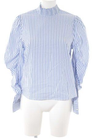 Bershka Langarm-Bluse weiß-kornblumenblau Streifenmuster Casual-Look