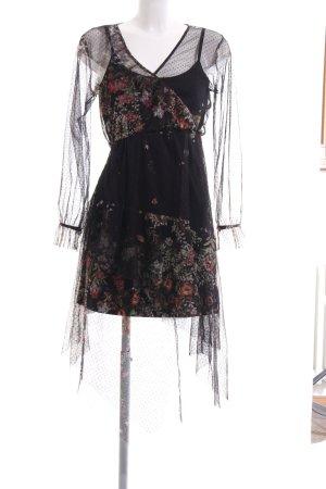 Bershka Langarmkleid schwarz Blumenmuster extravaganter Stil