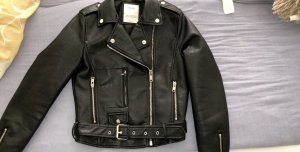 Bershka Leather Jacket black-silver-colored