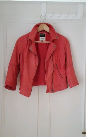 Bershka Lederjacke Bikerjacke rot korallrot S 36 leather biker jacket red coral