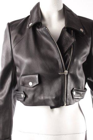 Bershka Lederjacke schwarz