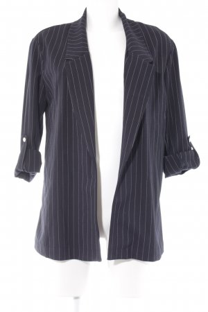 Bershka Long-Blazer dunkelblau-weiß Streifenmuster Business-Look