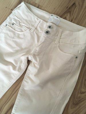 Bershka Low Waist Röhren Jeans Weiß Creme Nude XS 32 34 Ankle Super Skinny