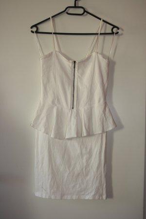 Bershka Peplum Kleid Gr M weiß