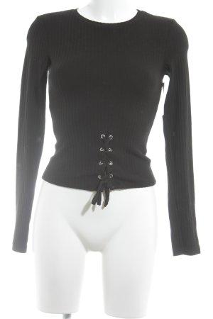 Bershka Geribd shirt zwart casual uitstraling