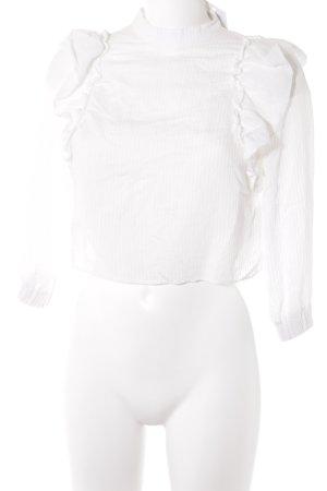 Bershka Ruffled Blouse white striped pattern casual look