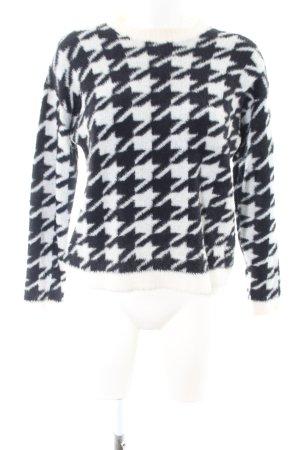 Bershka Rundhalspullover weiß-schwarz abstraktes Muster Casual-Look