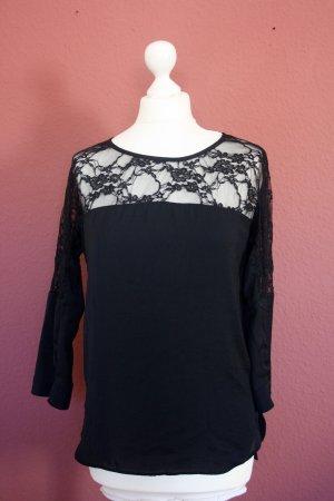 Bershka schwarze Bluse mit Spitze