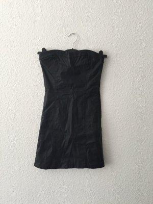 Bershka schwarzes Kunstlederminikleid S