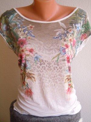 Bershka Shirt mit buntem Blumenprint Gr S