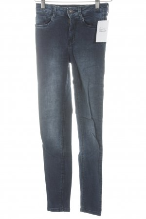 Bershka Skinny Jeans dunkelblau Washed-Optik