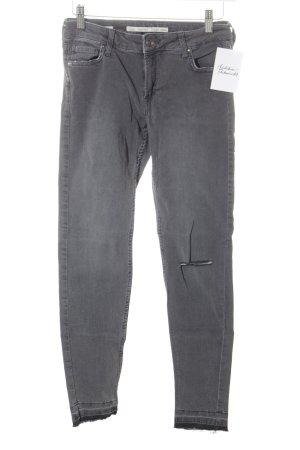 Bershka Skinny Jeans grau Destroy-Optik