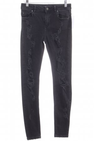 Bershka Skinny Jeans schwarz Used-Optik