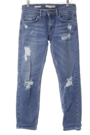 Bershka Slim Jeans stahlblau Casual-Look