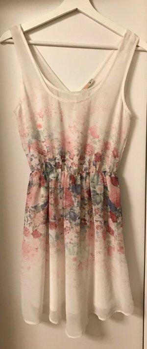 Bershka Sommerkleid: weiß mit Blumenmuster