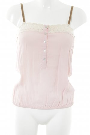 Bershka Lace Top light pink-natural white vintage look