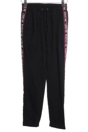 Bershka Stoffhose schwarz-rot sportlicher Stil