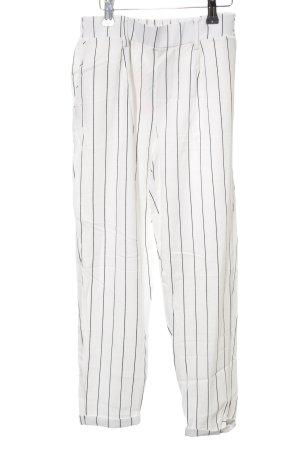 Bershka Stoffhose weiß-schwarz Streifenmuster Casual-Look