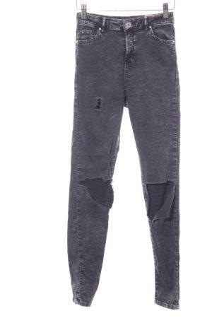 Bershka Stretch Jeans dunkelgrau Used-Optik