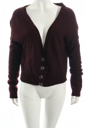 Bershka Strickjacke bordeauxrot Casual-Look