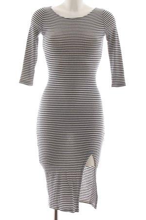 Bershka Abito di maglia grigio chiaro-nero motivo a righe stile casual