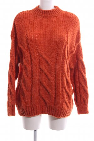 Bershka Knitted Sweater red cable stitch casual look