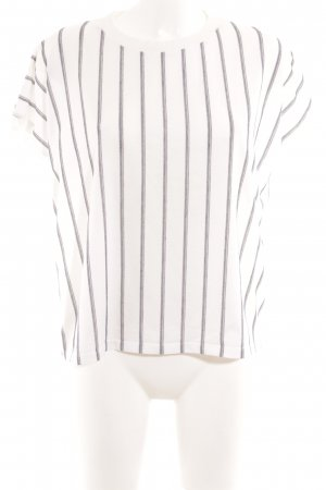 Bershka T-Shirt weiß-graublau Streifenmuster Casual-Look
