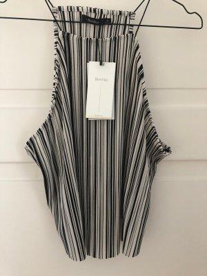 Bershka Top Oberteil Shirt Bluse schwarz weiß ärmellos Trägertop Crepe gestreift NEU