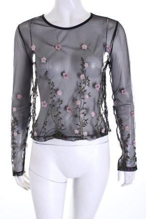 Bershka Transparenz-Bluse florales Muster Romantik-Look