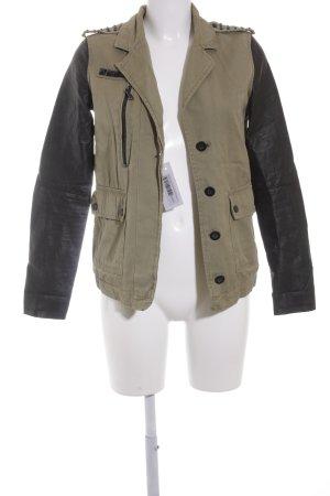 Bershka Übergangsjacke khaki-schwarz Military-Look