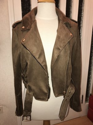 Bershka Leather Jacket brown-gold-colored