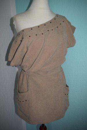 Bershka Wildleder Kleid camel beige XS 34 Coachella Festival Blogger Style