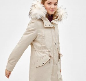 Bershka Hooded Coat cream-natural white
