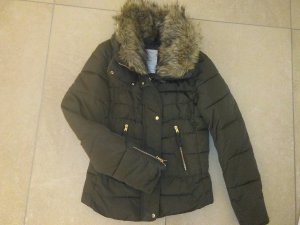 Bershka Fake Fur Jacket olive green-khaki