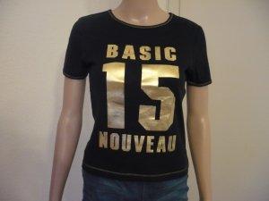 Basic T-shirt zwart-goud Katoen