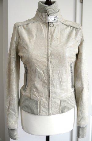 Besondere Lederjacke in nude & silber metallic von Pepe Jeans aus der Andy Warhol Collection