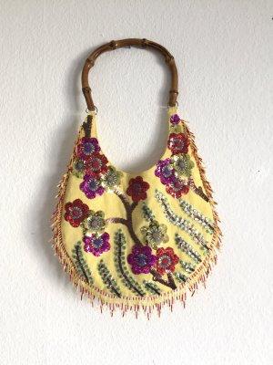 Besondere Schultertasche mit Pailletten-Blumenstickerei und Perlenfransen