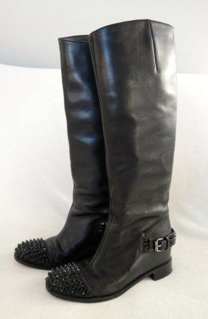 Besondere schwarze Lederstiefel von Christian Louboutin mit Nieten und verdecktem Absatz