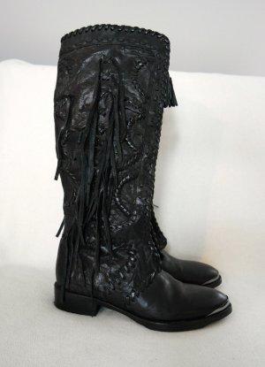 Besondere Stiefel aus schwarzem Leder mit Fransen, nur 1x getragen
