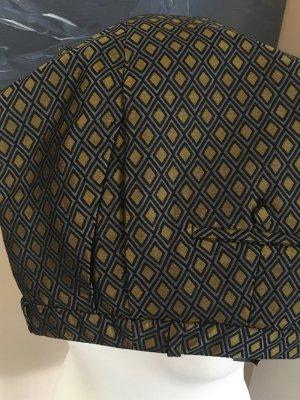 Besondere Stoffhose mit Muster, goldfarben und grau/schwarz