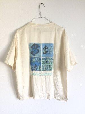 Besondere vintage kurzärmelige Bluse aus puren Seide