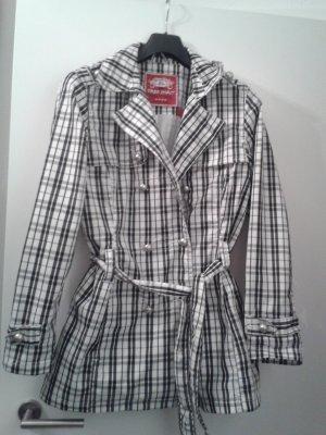besonderer BLOGGER Karo Mantel Regenmantel Trenchcoat mit Gürtel und ganz besonderen Knöpfen - FREE SPIRITGr. L