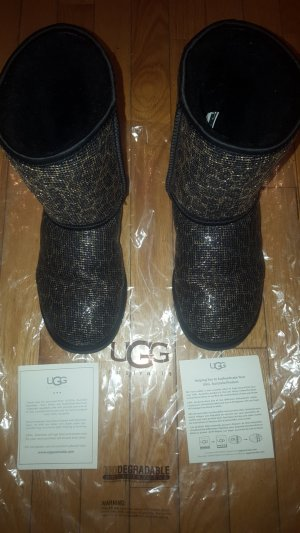 besonders coole Australia UGG Boots im leolook, schwarz/gold/glitzer, Gr. 39, wie NEU