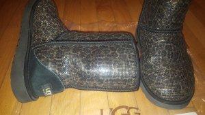 besonders coole Australia UGG Boots (Limited Edition) im leolook, schwarz/gold/glitzer, Gr. 39, wie NEU