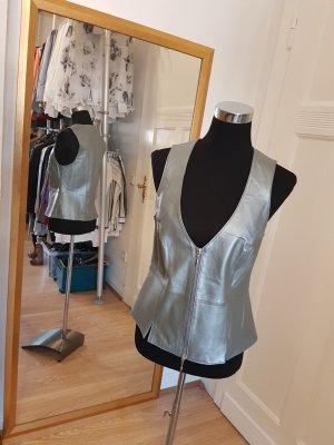 Alba Moda Leather Vest silver-colored