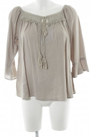 Best Connections Carmen-Bluse graubraun Boho-Look