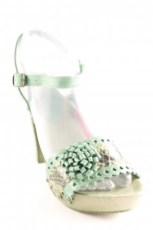 Best Connections High Heel Sandal green animal pattern Jewelery application